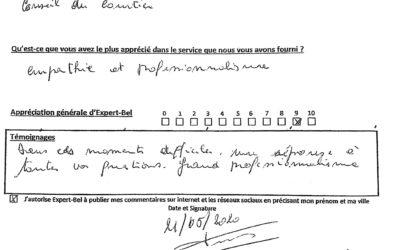 Témoignage de Jean-Pol de Waremme victime d'un incendie en février 2020 et assisté par Expert-Bel