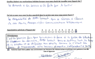 Témoignage d'Irene victime d'un incendie à Leuze en Hainaut en juin 2020 et accompagnée par Expert-Bel